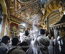 Early morning 'Vesak' full moon puja for the Buddha's birthday in Weligama temple