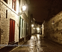 Rainy cobbles at night