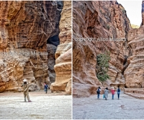 Sweeping the sand in Petra (left); could this be the most pointless job in the world?..!