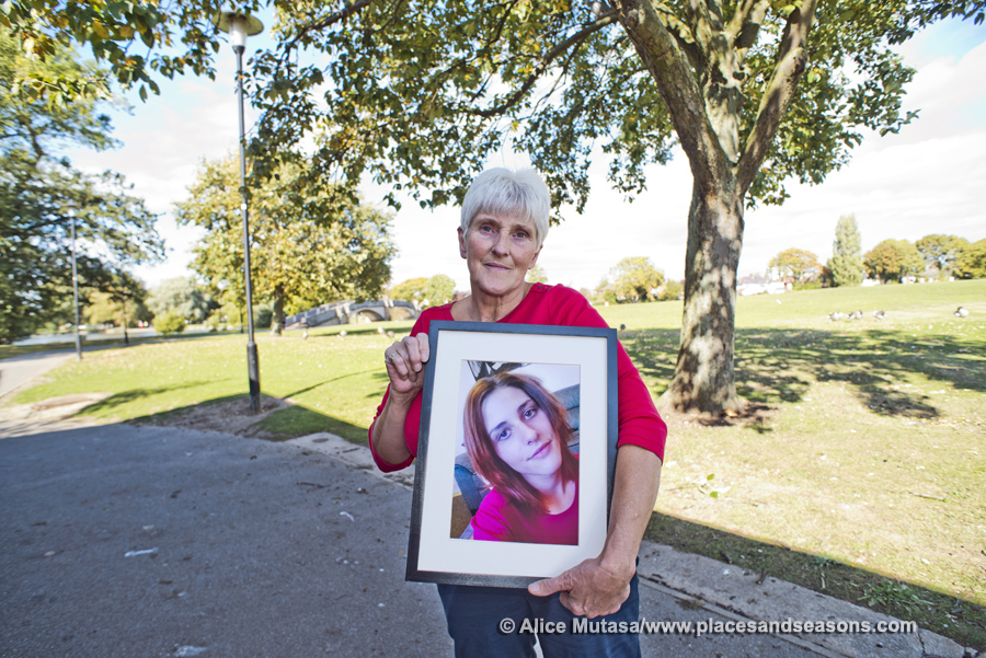 Diane with a photo of her late daughter Emily
