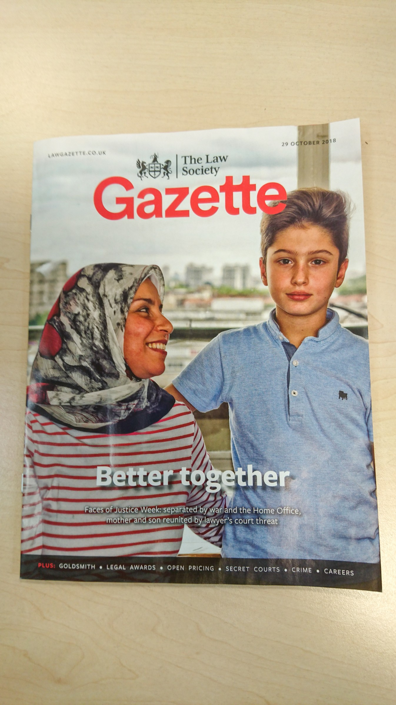 Chahla and Omar's photo on the front cover of the 'Gazette' magazine
