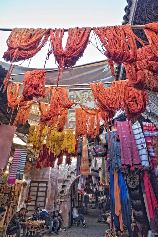 Dyed wool drying in Marrakech souk