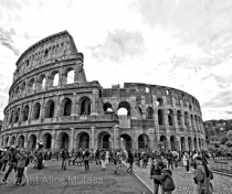 Colosseum under brooding skies