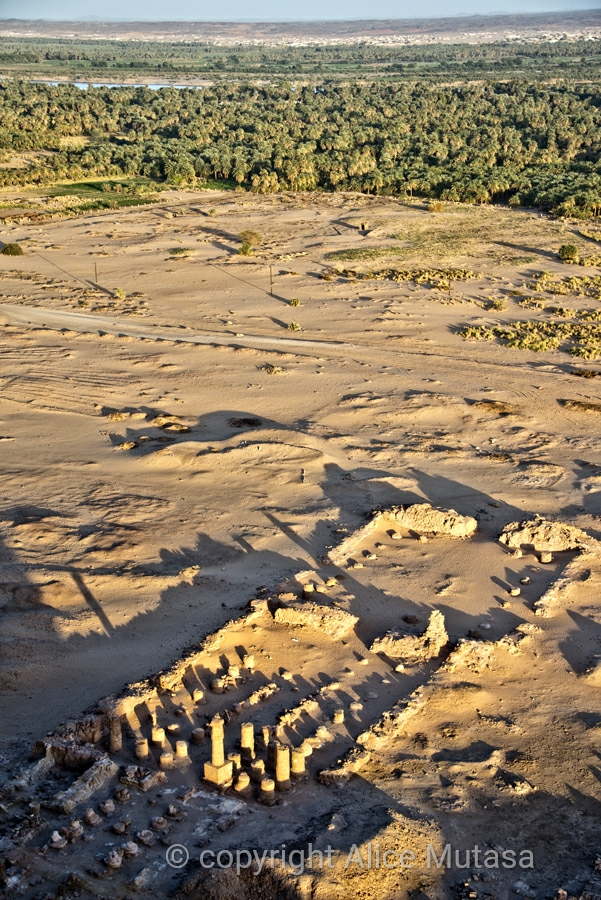 View of the remains of the Temple of Amun, from the top of the sacred mountain of Jebel Barkal