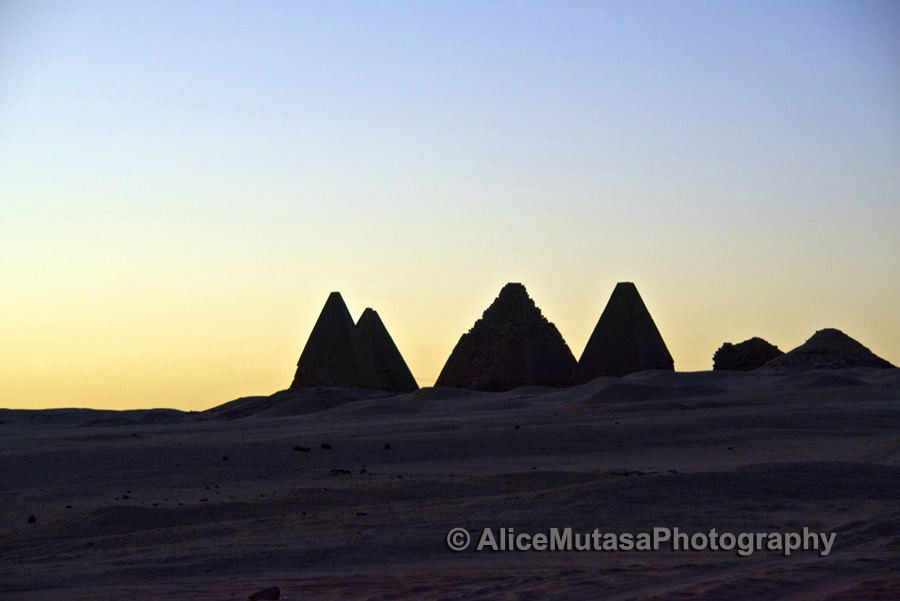 Jebel Barkal pyramids at sunset