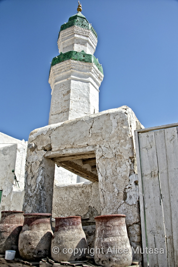 Lovely mosque in Suakin with 'Mazira' water jars