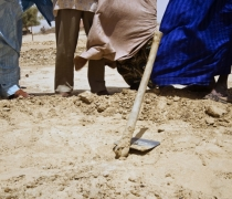 Digging the new well; N'dala village