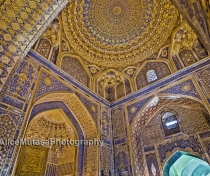 The amazing golden ceiling of the Tilla Kari Madrassa, Registan, Samarqand