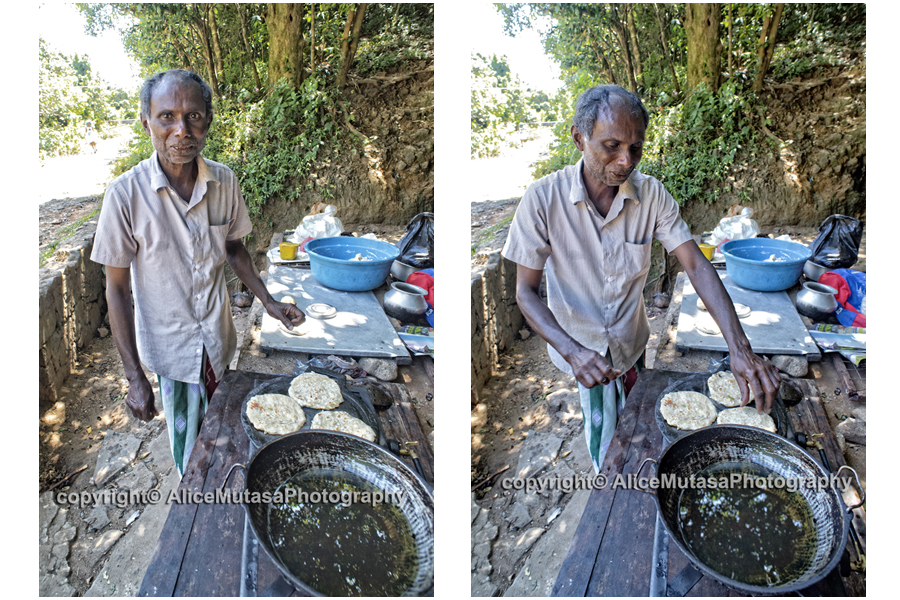 Sellaraj: making delicious rotis & wadis by the side of the road