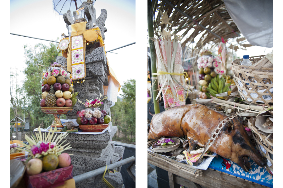 Offerings at private shrine ceremony; Sumerkima village, Bali