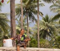 Saina & storm clouds, Lombok