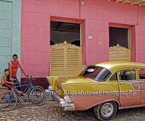 Pink car-pink house, Trinidad, Cuba