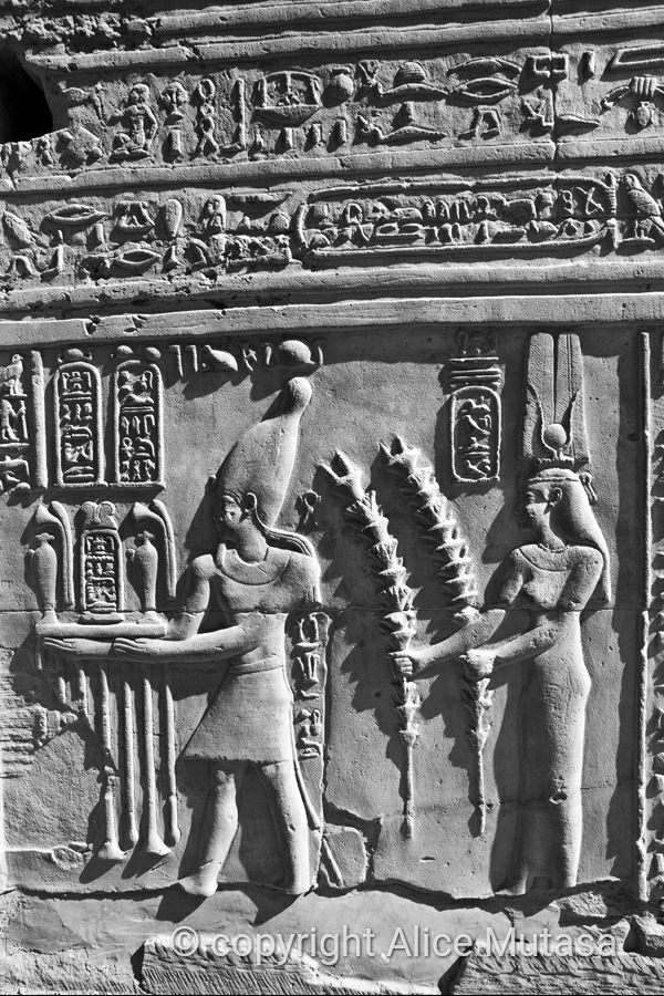 Detail of reliefs at Kom Ombo temple