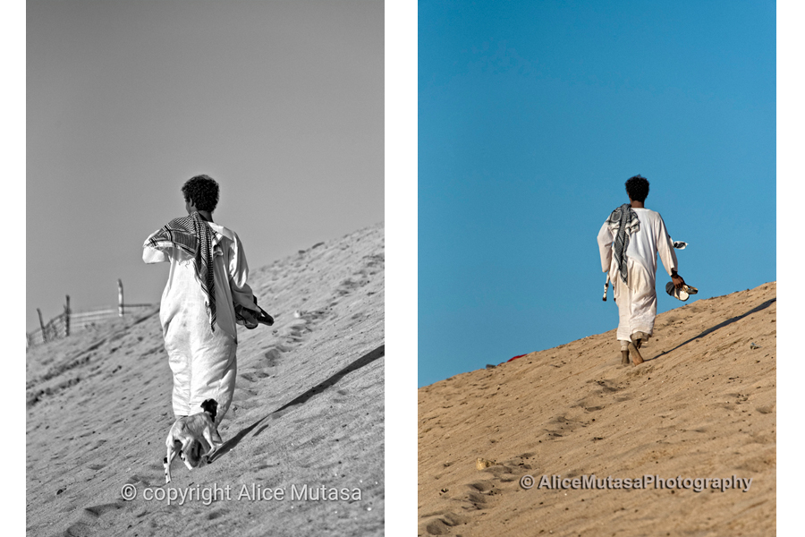 Mohamed and his goat and the sand dune....