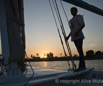 Sayed's daughter Yasmina helping out on the felucca