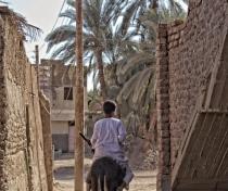 Hassein on his donkey; Herbiat village