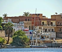 Nubian style buildings on the west bank of the Nile at Aswan