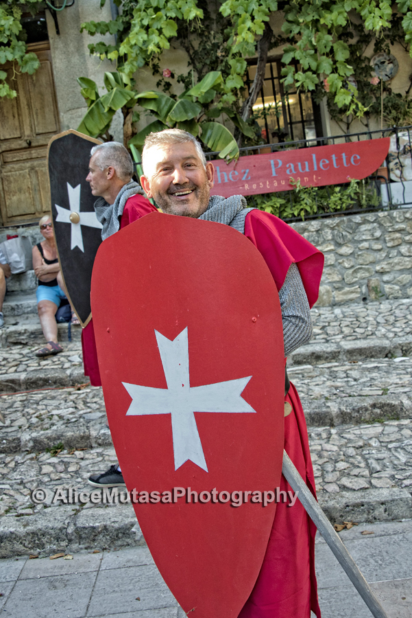 Cheeky crusader  -rehearsal for annual village play