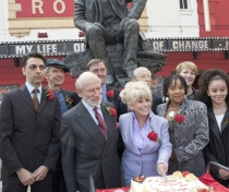 Artistic Director Kerry Michael; sculptor Philip Jackson, Barbara Windsor, Murray Melvin and others with the statue