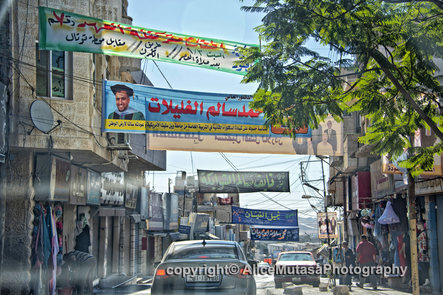 Election banners - driving out of Madaba