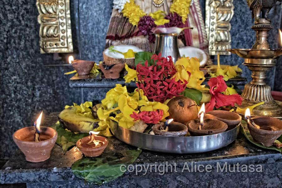 Offerings - Thaipoosam Cavadee Tamil festival - at Tamil Surya Oudaya Sangam Temple - Grande Baie