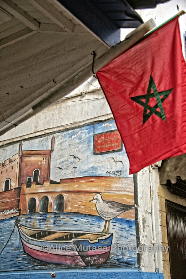 Flags and mural, Essaouira