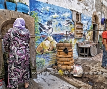 Public fountain & mural in the old medina, Essaouira (2016)