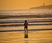 Sunset child on beach - Essaouira