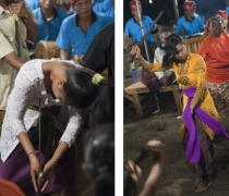 Dewa Ayu ('Kriss') trance spirit possession ritual: family shrine ceremony, Sumerkima village