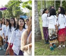 Sasak girls in platforms in the forest...