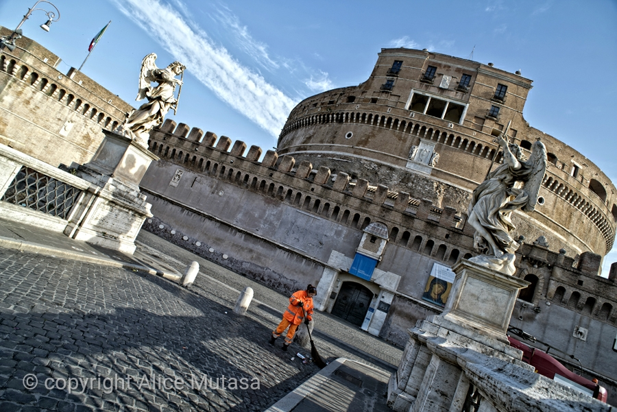 Rome early morning - nobody around except street cleaners