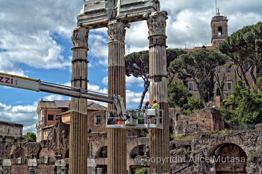 Cleaning the remains of the Temple of Venus Genetrix