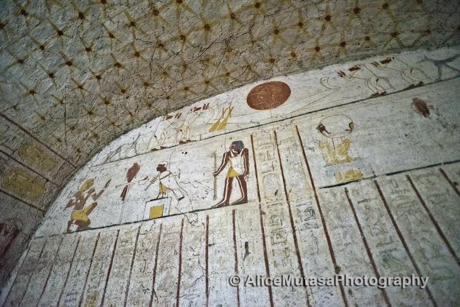 Inside King Tanwetami's burial chamber, El Kurru, near Karima