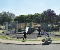 'Mum look the playground's open!'