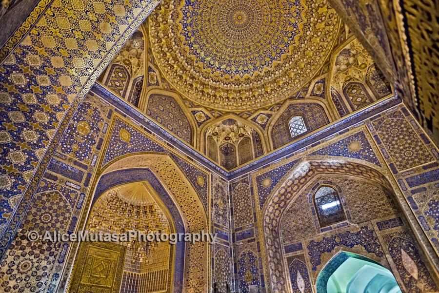 The amazing golden ceiling of the Tilla Kari Madrassa, Registan, Samarqand