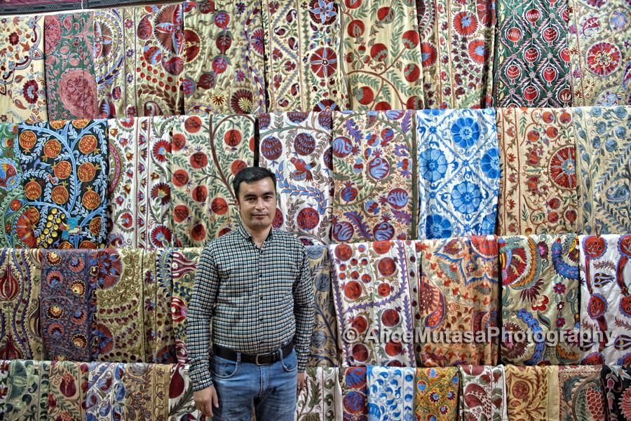 Gulom Isaev; owner of wonderful suzani shop in Samarqand