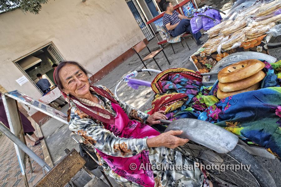 Maya - our local bread seller, Samarqand