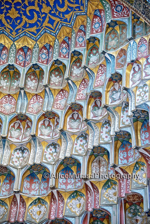 Detail of the interior of the Ulug Beg Madrassa, Bukhara