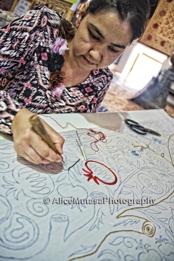 Nigora; Suzani maker, Bukhara