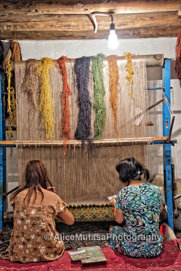 Weaving silk carpets with hand-dyed thread; the wonderful 'Khiva Silk Carpet Worksh