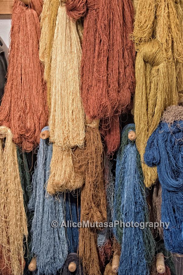Natural dyed silk skeins drying; 'Khiva Silk Carpet Workshop'