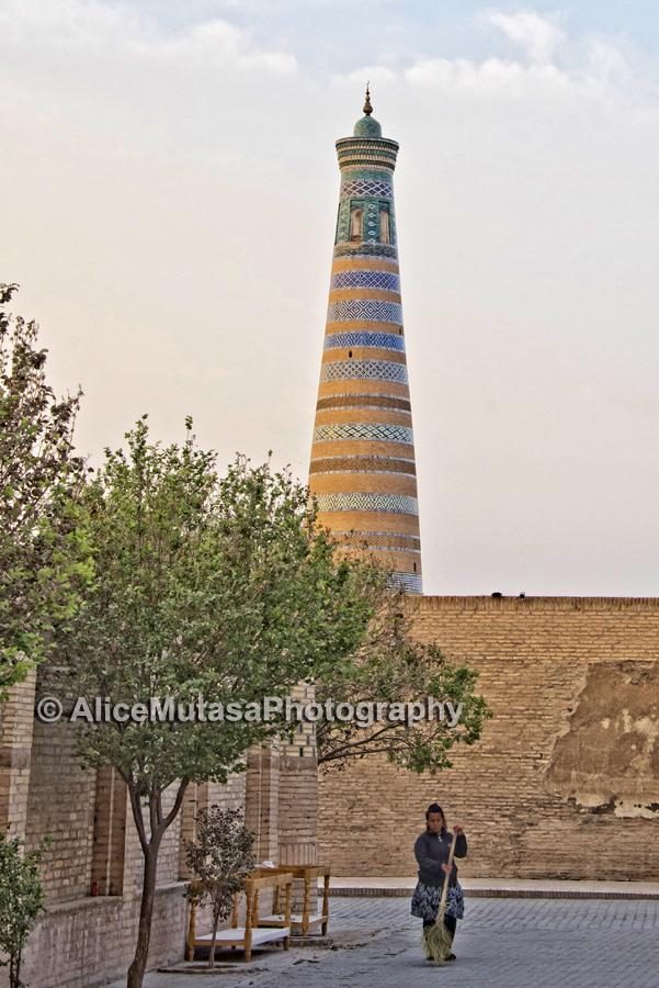 Khiva's near-empty streets at dawn