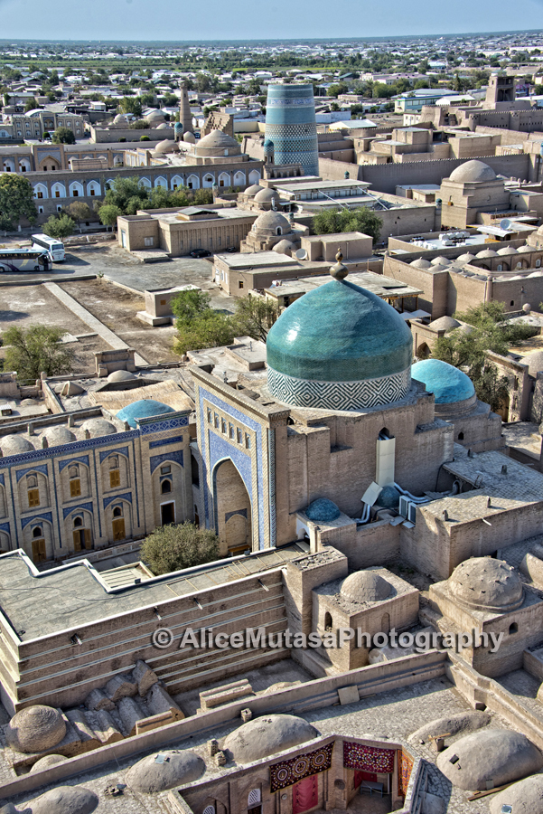 Aerial view of Khiva at dusk