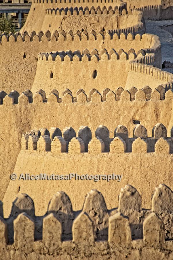 Ichon Qala wall at dusk, Khiva