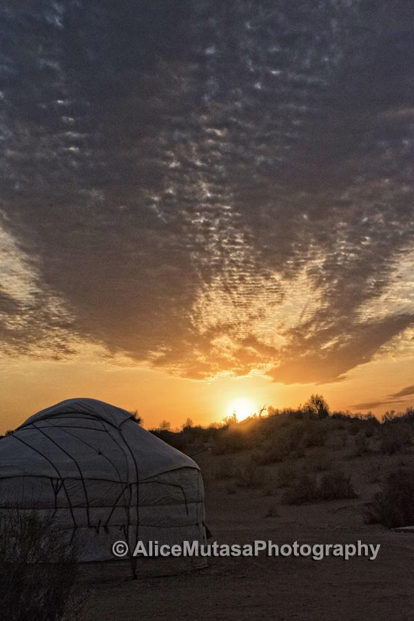 Sunset at yurt camp