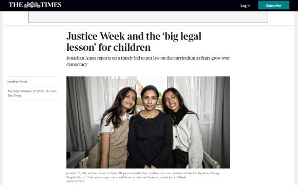 Media coverage of my Justice Week exhibition